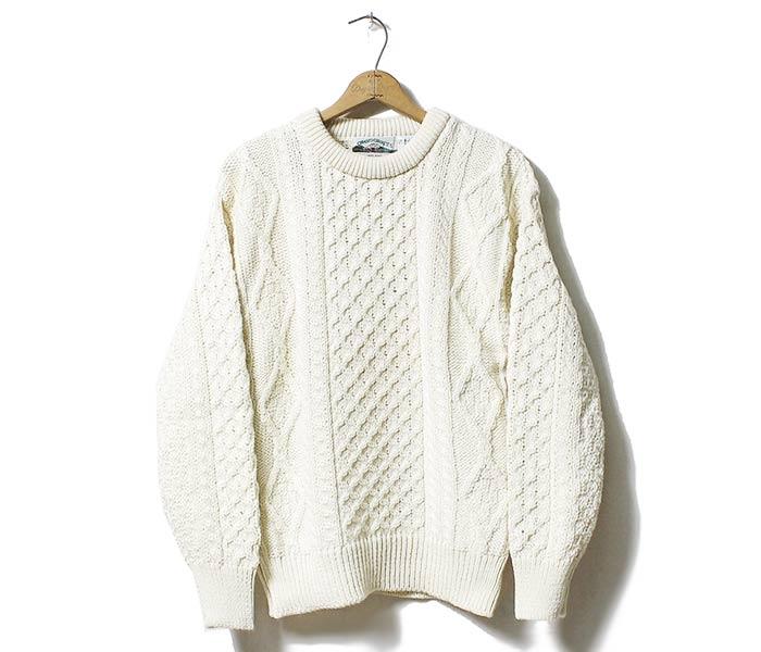 Natural Wool Irish Aran Sweater C1347 By West End Knitwear Ireland