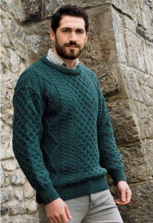 Green Aran Wool Sweater