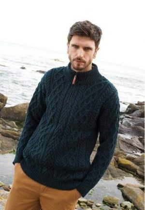 Wool Half Zip Aran Sweater