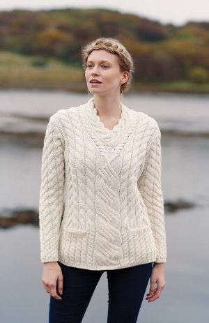 Super Soft Ladies Aran Crossover Sweater