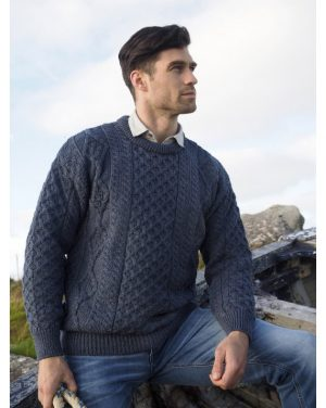 Denim Blue Irish Wool Aran Sweater c1347