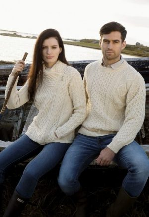 Natural Wool Irish Aran Sweater c1347