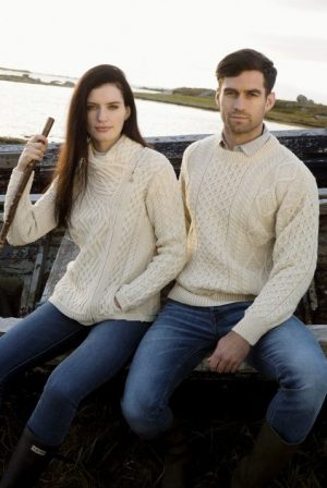 Natural Wool Irish Aran Sweater c1347