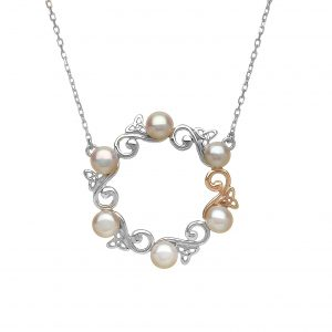 House of Lor Silver Gold Pearl Celtic Necklace