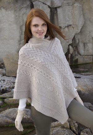Beige Wool Aran Poncho