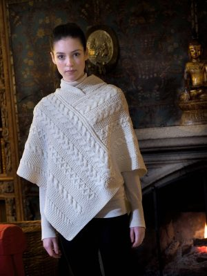 Natural Wool Aran Irish Poncho
