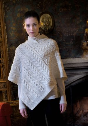 Natural Wool Aran Irish Poncho