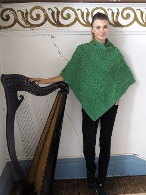 Green Wool Aran Poncho