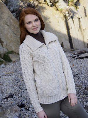 Merino Wool Irish Patch Cardigan Pockets