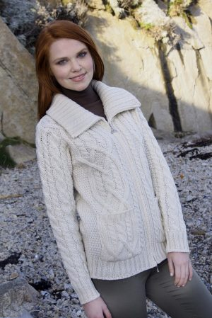 Merino Wool Irish Patch Cardigan Pockets