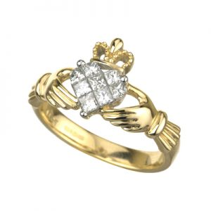 Solvar 14K Yellow Gold .50ct Diamond Claddagh Ring s2714