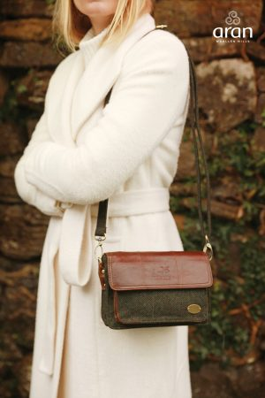 Green Tweed & Leather Irish Mini Hand Bag
