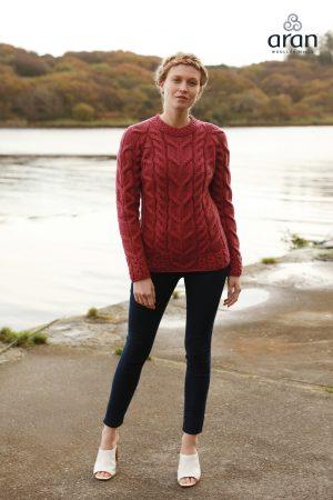 Super Soft Red Aran Sweater B951 432