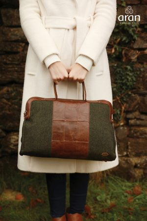 Green Tweed & Leather Irish Weekender Bag
