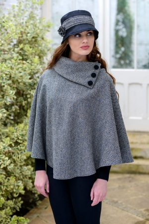 Gray Herringbone Mucros Irish Poncho