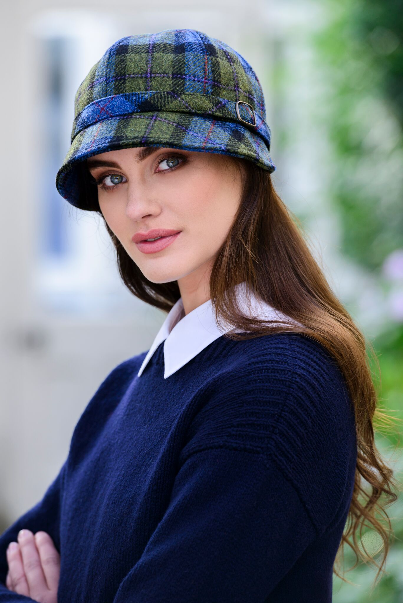 103d2ee3c9a  Ladies Irish Tweed Flapper Cap – Blue Green Plaid 772-2