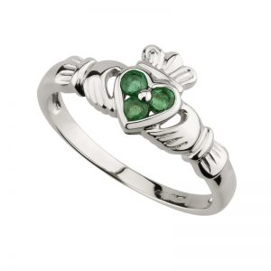 14K White Gold .18ct Emerald Claddagh Ring s2621