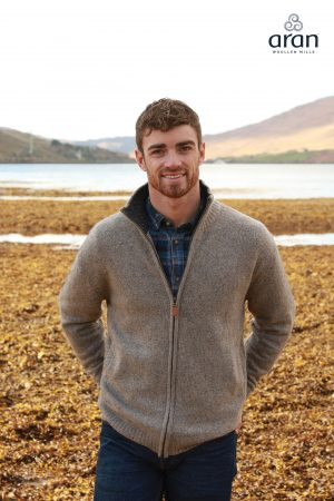 Mens Aran Irish Wool Cardigan Seashore Brown