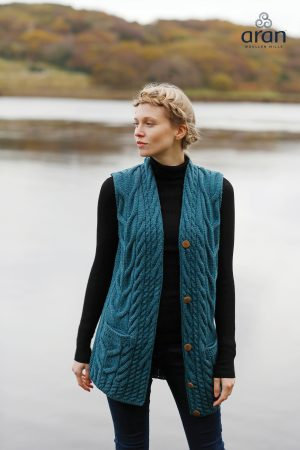 Ladies Cable Knit Button Waistcoat Cardigan