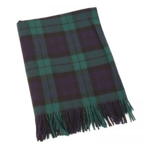 John Hanly Lambswool Tartan Black Watch Blanket 620