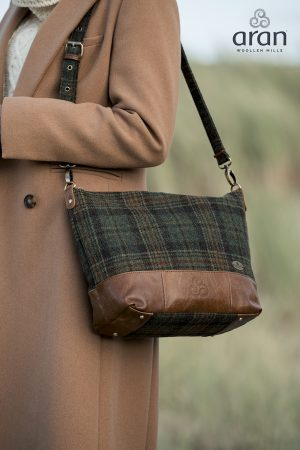 Aran Woollen Mills Leather Tweed Tote Bag