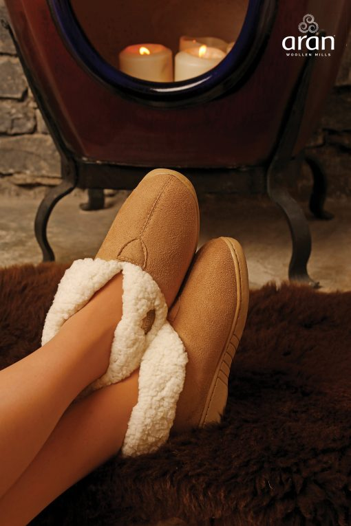 Adult Faux Suede Wool Boot Slippers