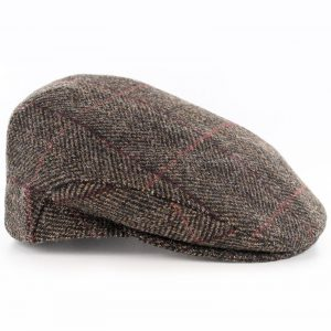 Mucros Trinity Tweed Flat Cap Brown with Red