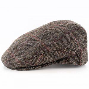 Mucros Trinity Tweed Flat Cap Brown with Red