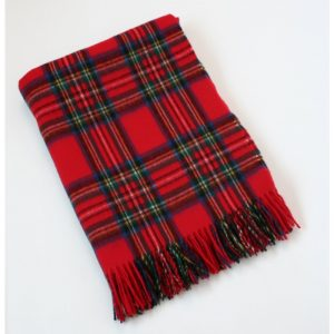 Lambswool Irish Red Tartan Blanket John Hanly 644