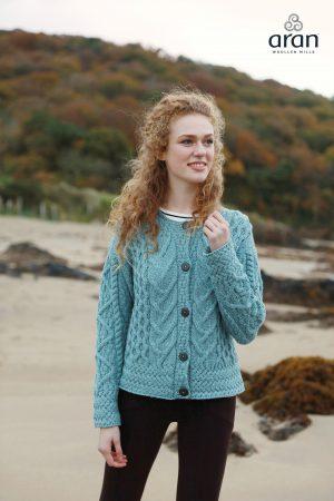 Irish Blue Aran Button Cardigan