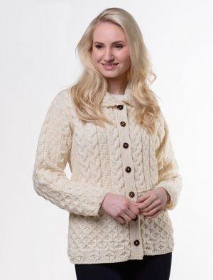 Merino Wool Aran Ladies cardigan A897 162