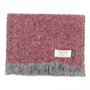 Red Donegal Tweed Scarf - Mucros Weavers dt2