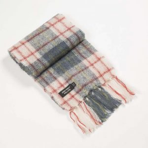 John Hanly Pink Check Mohair Scarf