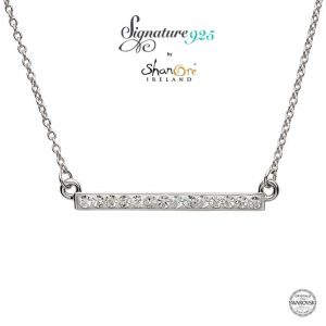 Shanore Sterling Silver Bar Pendant with Swarovski Crystals