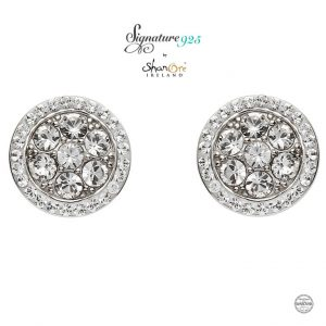 Round Sterling Silver Stud Earrings with Swarovski Crystal