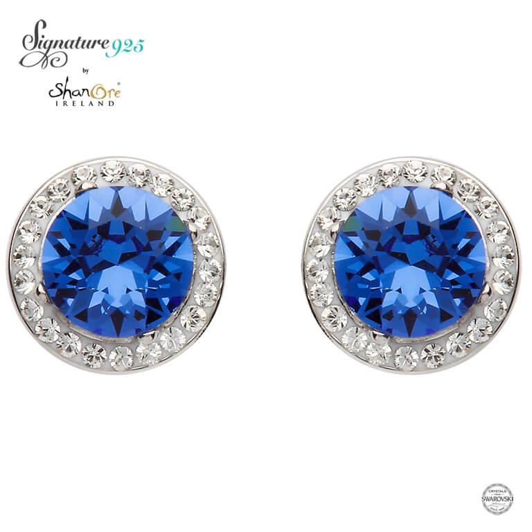 b6cddd43a2d740 Sapphire Swarovski Crystal Sterling Silver Stud Earrings