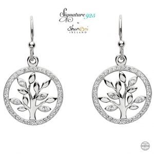 Sterling Silver Tree of Life Earrings With Swarovski CrystalSterling Silver Tree of Life Earrings With Swarovski Crystal