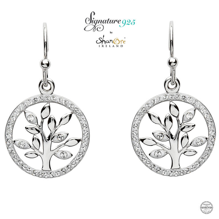 Sterling Silver Tree Of Life Earrings With Swarovski Crystal