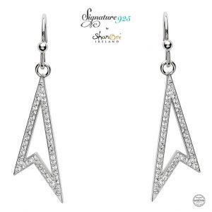 Drop Sterling Silver Earrings With Swarovski Crystal