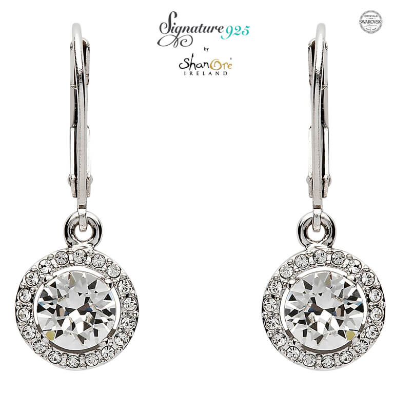 ae0a1dc2d Sterling Silver Marquise And Round Earrings With Swarovski Crystal