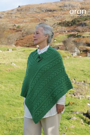 Green Cable Knit Aran Poncho