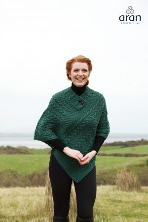 Dark Green Cable Knit Aran Poncho a200 403