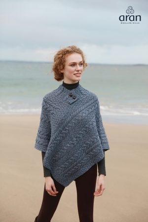 Denim Cable Knit Aran Poncho