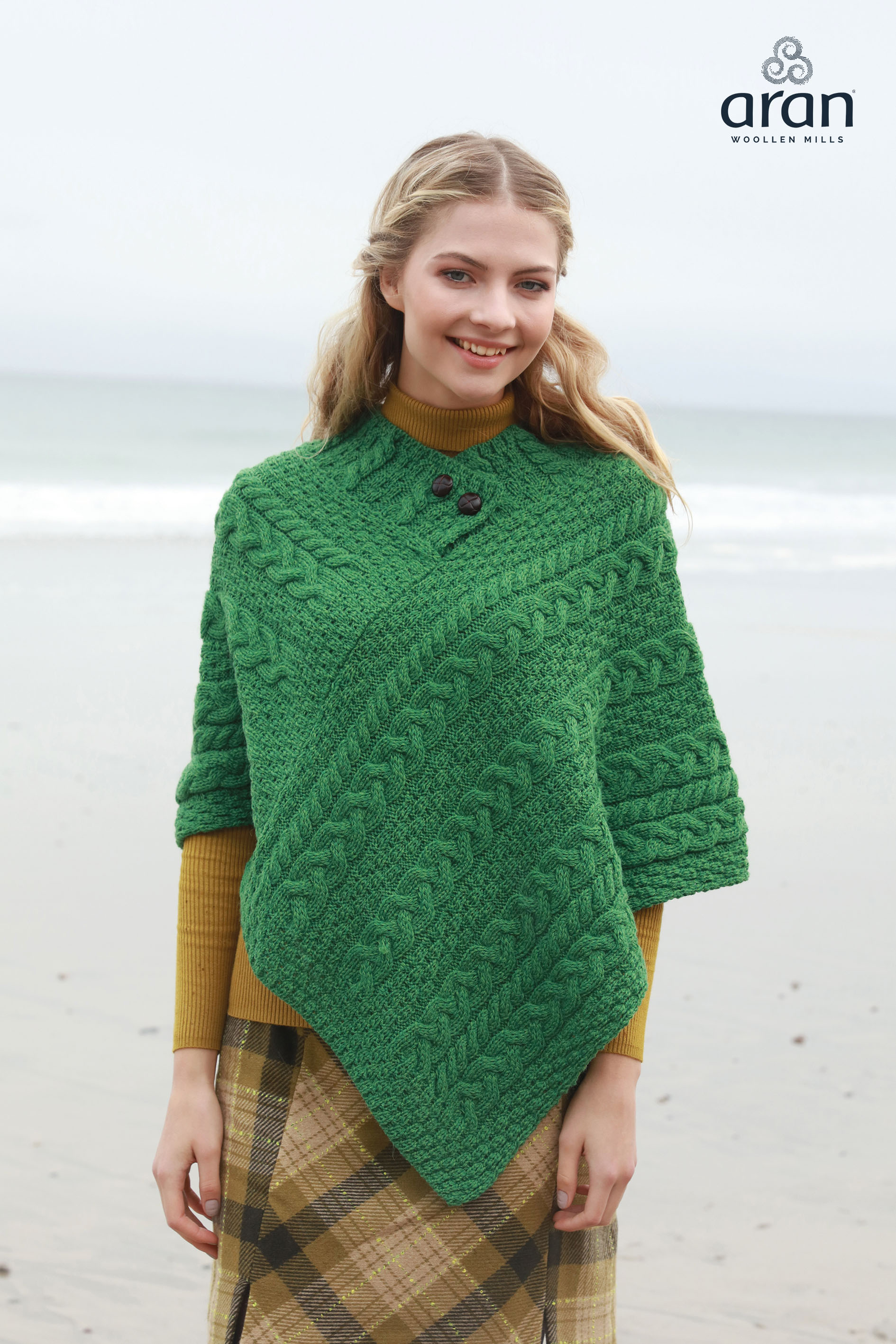 c23e6ed10557 Green Cable Knit Aran Poncho a200 257 - Skellig Gift Store