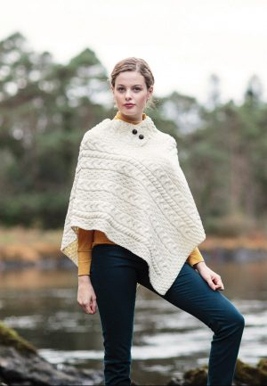 White Cable Knit Aran Poncho