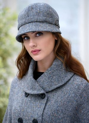 Mucros Grey Herringbone Flapper Hat