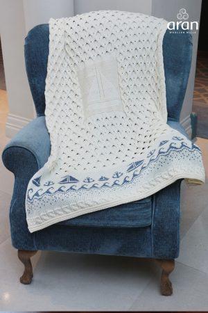 Aran Merino Wool Sailing Boat Blanket