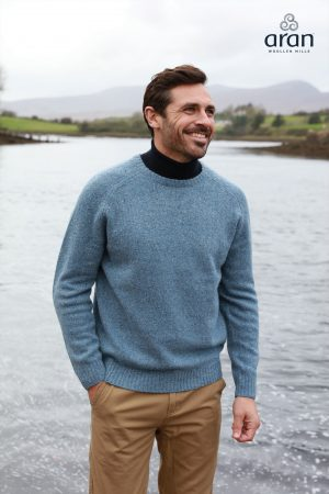 Men's Blue Crew Neck Sweater