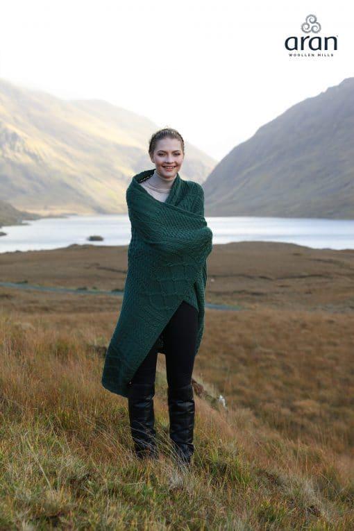 Aran Plaited Green Irish Blanket