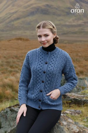 Denim Aran Stitch Irish Cardigan